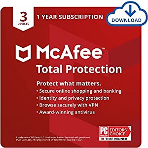 McAfee Total Protection 2022   3 Device   Antivirus Internet Security Software   VPN, Password Manager & Dark Web Monitoring Included   PC/Mac/Android/iOS   1 Year Subscription   Download Code