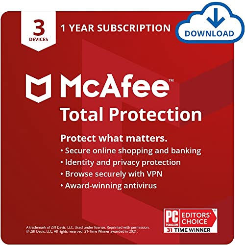 McAfee Total Protection 2021, 3 Device, Antivirus Internet Security Software, VPN, Dark Web monitoring, 1 Year with Auto Renewal - Download Code