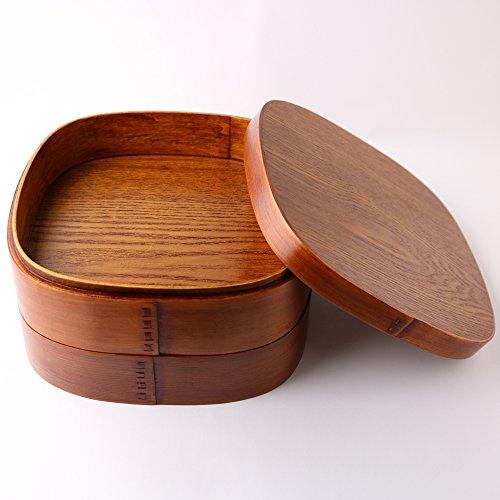 7寸曲げわっぱくつわ型二段重箱漆塗り漆器杉保湿天然木製天然木女性男性