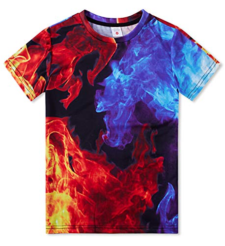 TUONROAD Kids' Short Sleeve T-Shirt Tee Shirts Summer Crewneck Graphic Tees Shirt Tops 6-8T Ice-Blue