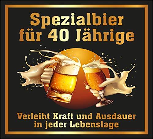 RAHMENLOS 3 St. Original Design: Selbstklebendes Bier-Flaschen-Etikett zum 40. Geburtstag.