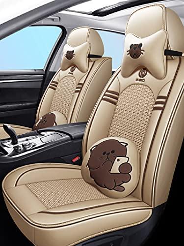 Juegos De Fundas Asientos Coche Para Peugeot 2008 408 508 206 207 Cubre Asiento De Coche Universales De Verano De Cuero De Seda Hielo Para Delanteros Y Traseros,Beige