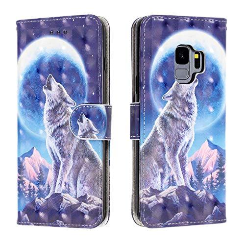 YKTO Funda para Samsung Galaxy S9 Carcasa Libro de PU Cuero Billetera Glitter Brilla Flip Caso Cierre Magnético Tarjetero y Función de Suporte Protectora Cartera Galaxy S9, Lobo de Nieve