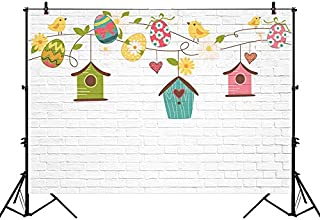 Funnytree 7x5ft Easter Egg Bird Birthday Photography Backdrop White Brick Wall Background Newborn Baby 1st Party Colorful House Nest Festival Banner Portrait Studio Photobooth Photoshoot Props