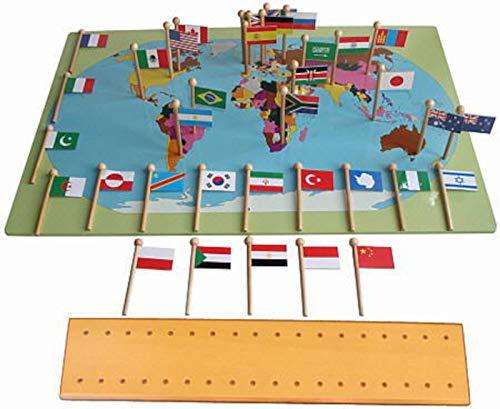 Weltkarte mit Flaggen, Montessori-Material aus Holz zum kennenlernen der Erdteile und Staaten
