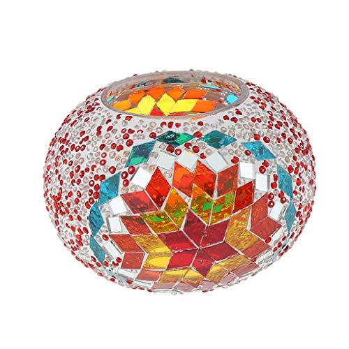 FLAMEER Lámpara de Cristal Estilo Turco Techo Ventilador Complimentos de Decoración Casa Oficina Restaurant Fácil de Usar - Rojo