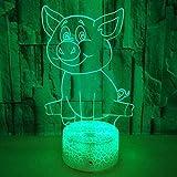 Lámpara LED 3D para dormir, animal de dibujos animados, cerdo, alimentado por USB, 7 colores, interruptor táctil intermitente, decoración de dormitorio, iluminación-7 colores Toque
