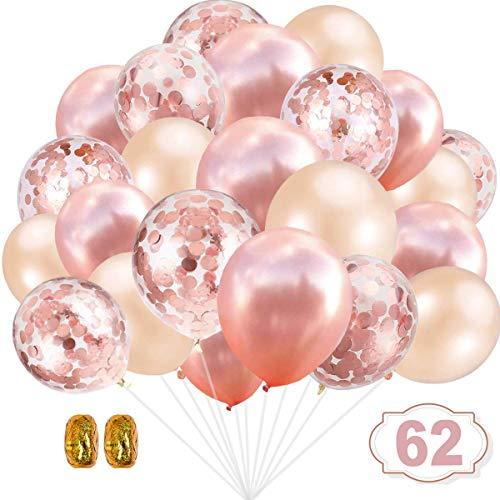 YIKEF 62 Stück Luftballons Rose Gold, Konfetti Luftballons, Ballons Rosegold,Helium Luftballons für Geburtstagsfeier Hochzeit Party Valentinstag Dekorationen (62 Roségold)