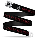 Buckle-Down Seatbelt Belt - Assassin's Crest/LIVE BY THE CREED Black/Gray/Red - 1.5' Wide - 24-38 Inches in Length