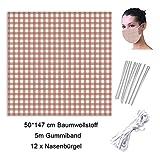 Beetop DIY Set Baumwollstoff 5M Länge 3mm Breite Gummiband