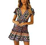 2019 Frauen Kurzarm Wrap Boho Floral Minikleid Damen Sommer Sommerkleid Urlaub V-Ausschnitt Frauen Hohe Taille Retro Strandrock (Navy Blue, L)