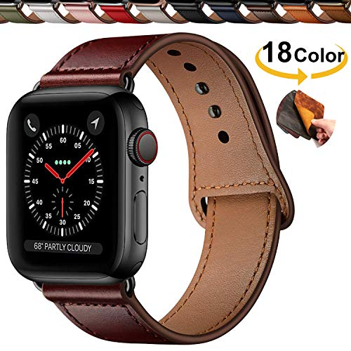 Qeei Compatible with Apple Watch 42mm 44mm en Cuir V¨¦Ritable,Innovative Bracelet Boucle Cach¨¦e Minimaliste Bande de Montres Replacment for iWatch Series 5 & 4 3/2/1,Reddish Brown