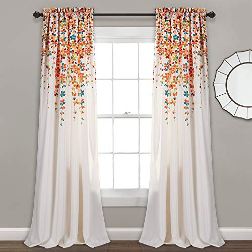 """Lush Decor Weeping Flowers Darkening Window Curtains Panel Set for Living, Dining Room, Bedroom (Pair), 84"""" x 52"""", Turquoise & Tangerine, 2 Count"""