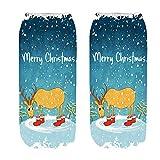 3D Weihnachtsdrucksocken, Weihnachtskarikatur bedruckte Socken Mode Geschenke dick warm flacher M& elastische Socken URIBAKY