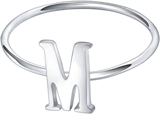 925 Sterling Silver Stackable Initial Letter Rings Capital Letter Ring Charm Initial Band for Women