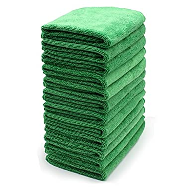Reusable Microfiber Cleaning Cloth Set - 12 x 12 Inch Microfiber Cloth - (12 Pack) Washcloth, Auto Detailing Supplies Cleaning Rags, Wiping Down Appliances, and Polishing Stainless Steel.
