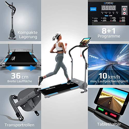 Kinetic Sports KST2500FX Laufband klappbar elektrisch flach leiser Elektromotor 500 Watt bis 120 kg, GEH- und Lauftraining, Lauffläche 36 cm breit, stufenlos einstellbar bis 10 km/h, 8 Programme - 3