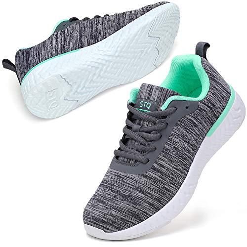 STQ Sneakers Damen Ultra leichte Laufchuhe Halsband hoch Tennisschuhe Workout Sportschuhe Grau/Green EU 40.5