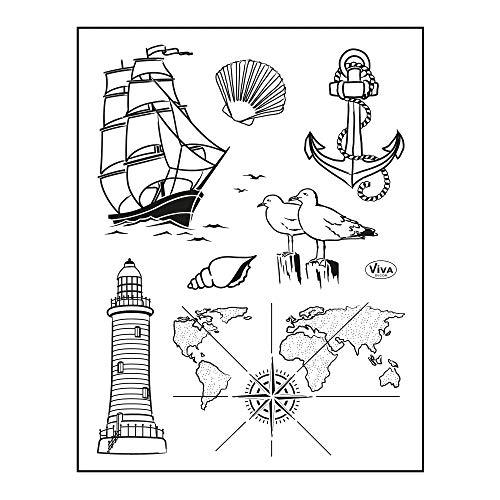 Viva Decor®️ Clear-Stamps (Seefahrt) Silikon Stempel - Prägung Stempel - DIY Dekoration stanzen - Stempel Silikon - DIY Stamp - Stempel Prägung - Made in Germany