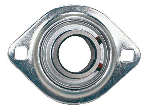 "Peer Bearing FHR205-16-2FM 2 Bolt Flange Unit, Narrow Inner Ring, Eccentric Locking Collar, Single Lip Seals, Pressed Steel, 1"" Bore, 3"" Center Length"