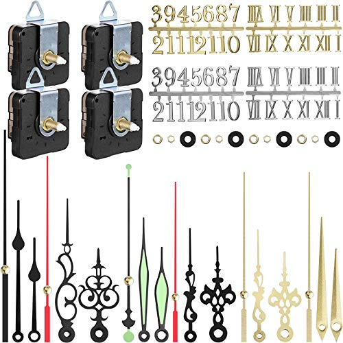 4 Pieces Quartz DIY Wall Clock, Clock Numerals Kit, Movement Mechanism Battery Operated Clock Motor Kit with 6 Different Pairs of Hands for DIY Clock Repairment