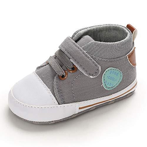 MASOCIO Zapatillas Bebe Niño Zapatos Primeros Pasos Bebé Recién Nacido Gris 6-12 Meses