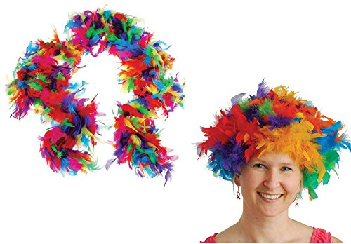 USToy 2 Piece Rainbow Feather Boa & Rainbow Feather Costume Wig Bundle