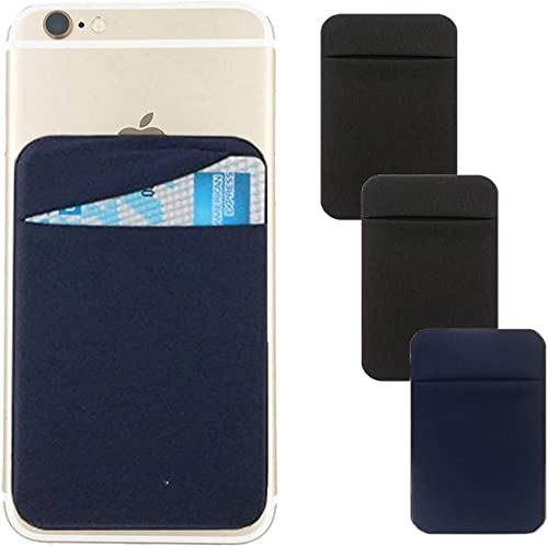 3Pack Cell Phone Card Holder Pocket for Back of Phone,Stretchy Lycra Stick on Wallet Credit Card ID Case Pouch Sleeve...