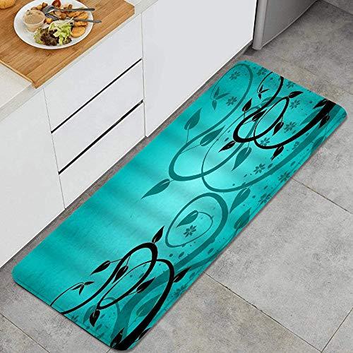 MJIAX Tappeto da Cucina,Foglia Botanica Viticcio Torsione Viti su Una,Non-Slip Backing Mat Throw rug for Kitchen Doormat Runner rug 47.2 x 17.7inch