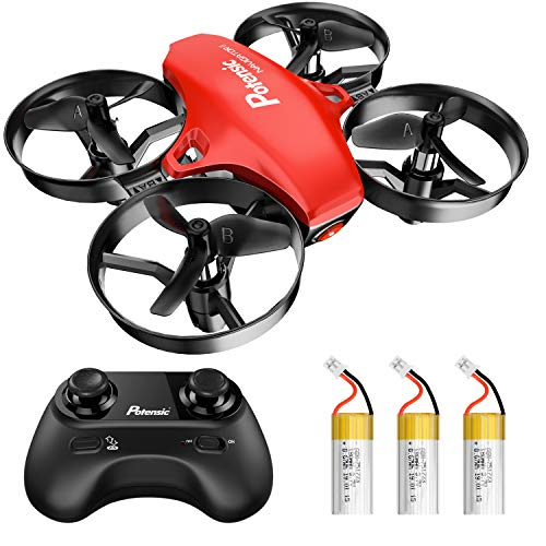 Potensic A20 Mini Drone Easy to Fly Drone for Kids and Beginners Gift, RC Helicopter Quadcopter with Altitude Hold, Headless Mode, One Key Take - Off Landing and Extra Batteries, Red