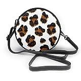 Bolso de hombro de piel suave con estampado de leopardo, con estampado de vectores, redondo, con cremallera, para mujer
