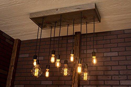 Modern chandelier, Industrial Lighting, Industrial Chandelier With Reclaimed Wood and 10 Pendants. R-1434-10