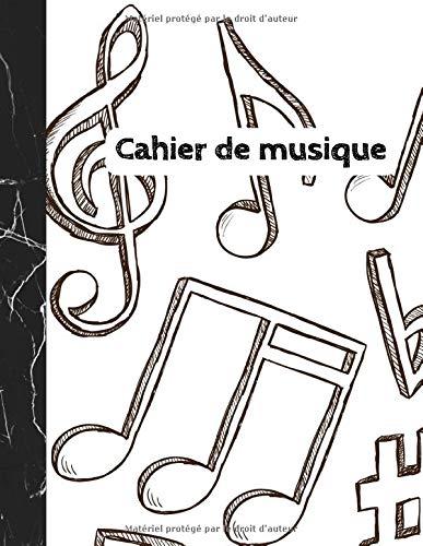 Cahier de Musique: Carnet de partitions - Papier manuscrit - 12 portées par page - 108 pages - Grand format - Couverture moderne