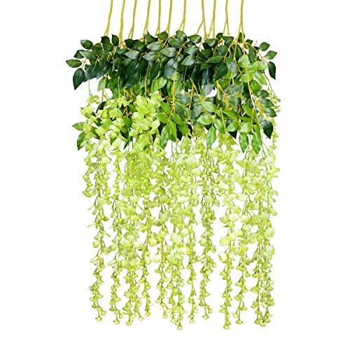 YQing 12 Piezas Flores Artificiales Plantas Decoración Seda Wisteria Artificial Flores Decoración para Boda Hogar jardín Fiesta