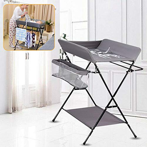 Baby Wickelkombi,Mobiler Wickeltisch mit 3 Fächer klappbare Wickelkommode Wickelauflage mit Sicherheitsgurt (80 * 63 * 96 cm),für Babys unter 12 Monaten (Mit Rädern)