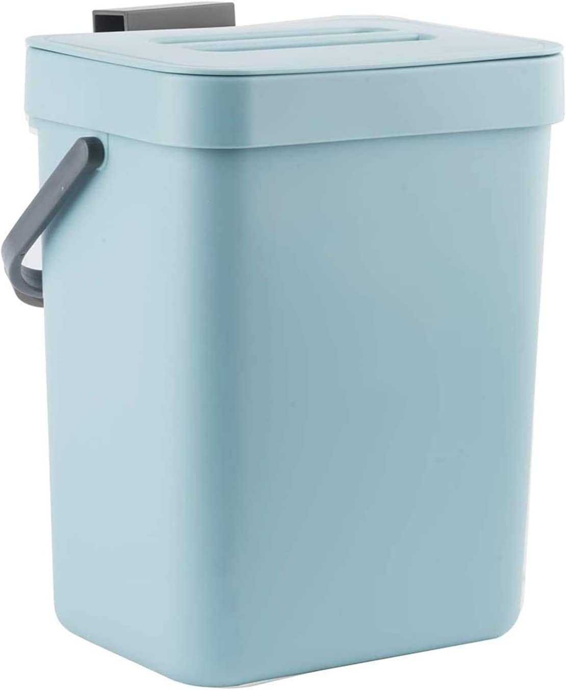 LALASTAR Small Trash Can with Lid, Odorless Mini Trash Can, Plastic Hanging Waste Basket for RV/Office/Bedroom/Dorm, 3L/0.8 Gal, Blue