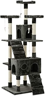 Cat Scratching Tree Post Scratcher Pole Condo Gym Furniture Tall Grey 180cm
