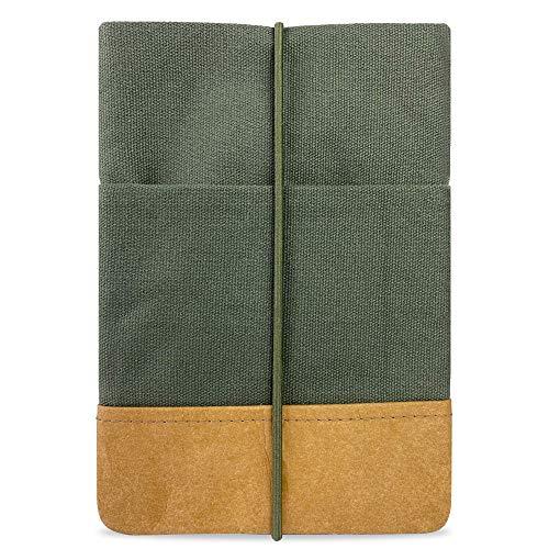 Kuratist eBook Reader Sleeve - Handgemacht aus 100% Baumwolle und Kantenschutz aus Papier in Lederoptik (100% Vegan) (6 Zoll/Tolino Shine 2/3 HD/Vision 2/3/4 HD - Uni Pine