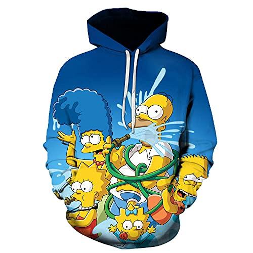 KOULEWUDI Sudadera con Capucha de Anime Sudadera con Estampado 3D de The Simpsons Sudadera con Estampado Digital de Anime en 3D-A_XX-Large