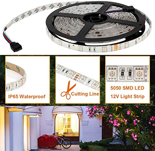 SUPERNIGHT LED Strip Lights, 16.4Ft RGB Color Changing SMD5050 300 LEDs Flexible Light Strip Waterproof Kit with 44 Key Remote Controller and 12V 5A Power Supply