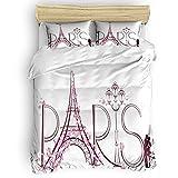 HUIJIE Funda De Edredón Infantil Francia Paris Torre Eiffel 140X200CM Juego De 3 Piezas 100% Microfibra Suave Y Cómoda, Funda Nórdica, 1 Funda Nórdica + 2 Fundas De Almohada Aptas Para Habitación Infa