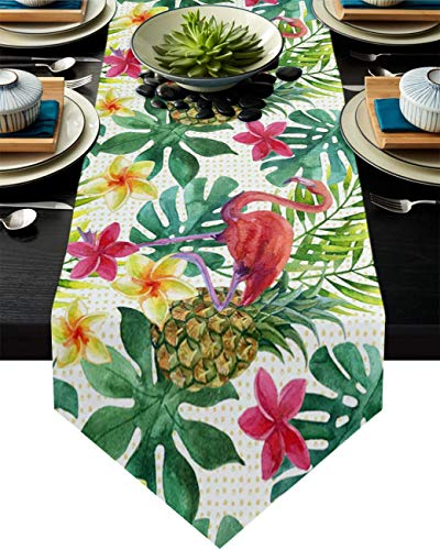 Camino de mesa de arpillera, diseño de flamencos, frutas, piña y plantas tropicales, 13 x 70 pulgadas