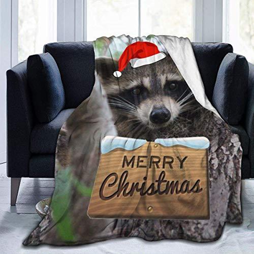 not applicable Fleece Wolldecke Baby Waschbär Frohe Weihnachten Genähte Kante Gemütliche Decken Plüsch Thermo Tragbaren Teppich für Bett Couch Sofa
