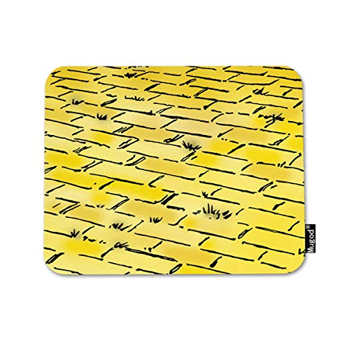 Mugod Mouse Pad Retro Vintage Wizard of Oz Yellow Brick Road by Nostalgic Decor Gaming Mouse Pad Rectangle Non-Slip Rubber Mousepad for Computers Laptop 7.9x9.5 Inches