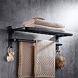 Estante de toalla espacio aluminio negro toallero retro toallero baño libre de perforación barra...