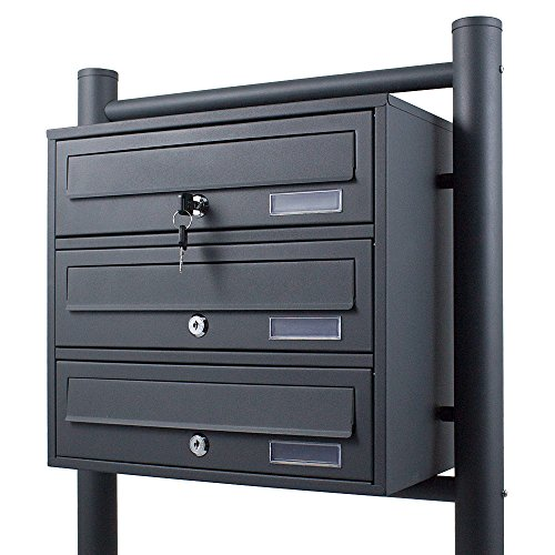 BITUXX® Stand-Briefkastenanlage Postkasten Letterbox Mailbox Doppelt u. Einzel Dunkelgrau (3 Fächer)