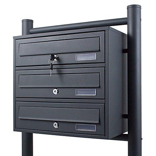 BITUXX® Stand-Briefkastenanlage Postkasten Letterbox Mailbox mit 3 Fächer Dunkelgrau Anthrazit