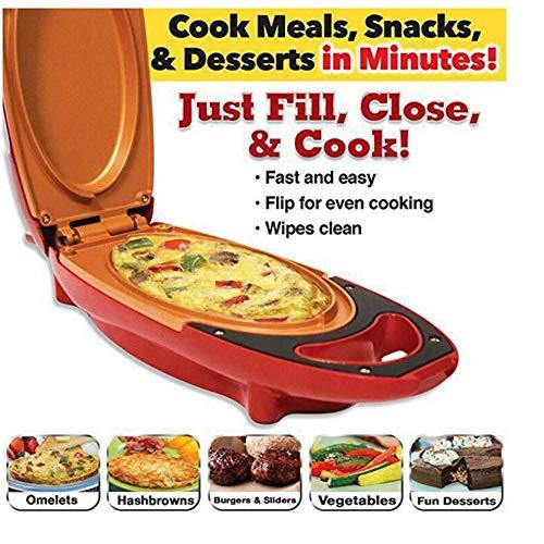 HKDJ-Tiefe Füllung Sandwich Maker Mit Easy Clean Antihaft-Platten,Automatische Temperaturregelung,1-Slice