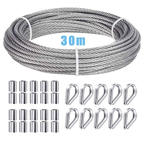 Ruesious Picture Wire, Mirror Hanging Wire, 30m Nylon Coated Heavy Duty 304 Stainless Steel Cable Rope,M2 304Stainless Steel Wire Rope Thimbles,Aluminum Crimping Loop Sleeves