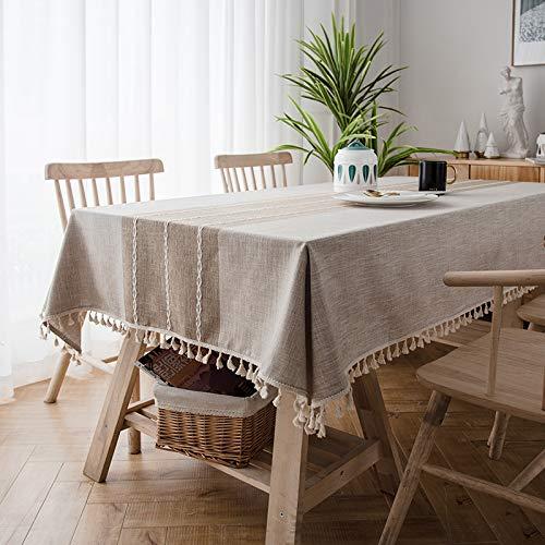 Creek Ywh Nordic in tafelkleed van katoen en linnen, klein, glad, rechthoekig, eenvoudig en modern, rijst koffie (dikte - zijde met franjes), 130 x 220 cm